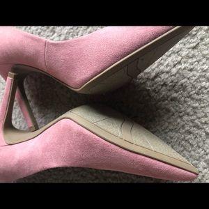 Pink faux suede pumps
